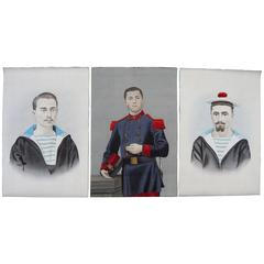 Rare 19th Century Chinese Portrait Paintings of European Sailors and a Soldier