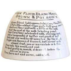 Ironstone Mold Printed with Pudding Recipe