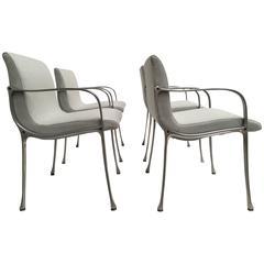 Four Italian Armchairs in Cast Aluminium & Sea Foam Green Ploeg Wool Upholstery
