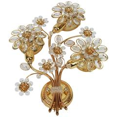 Large Gilt Brass Flower Shape Wall Light with Crystals by Palwa, Germany, 1970s