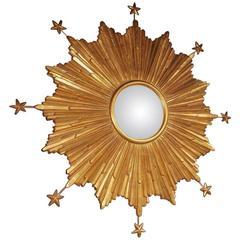 American Gilt Carved Wood Sunburst and Stars Convex Mirror, 20th Century