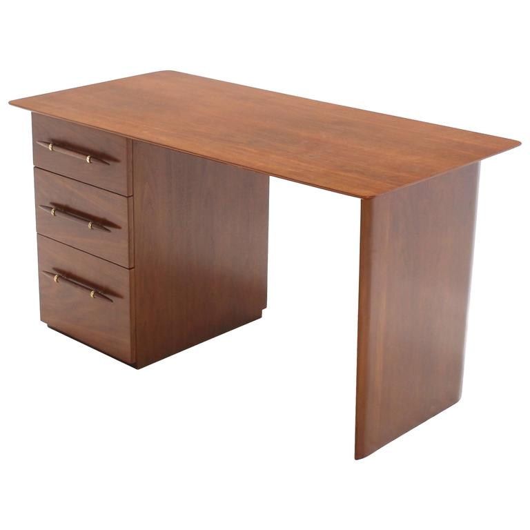 Robs john Gibbings Walnut Single Pedestal Desk with Three Drawers