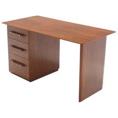 Robs john Gibbings Walnut Single Pedestal Desk with Three Drawers
