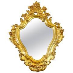 Italian Floral Scrolled Giltwood Wall Mirror