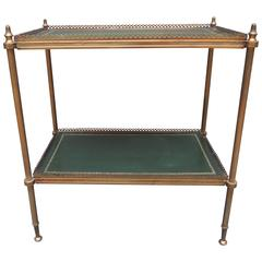 Regency Style Brass and Green Tooled Leather Etagere Side or End Table