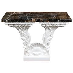 Great Carved Wood Console Table in the Manner of Serge Roche