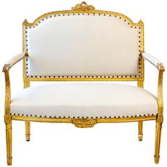 French, 19th Century Giltwood Settee, Louis XVI