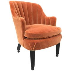 French Art Deco Side Chair in Mohair