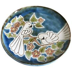 Mid-Century, French Modern Ceramic, Decorative Plate Dish signed by Robert Perot