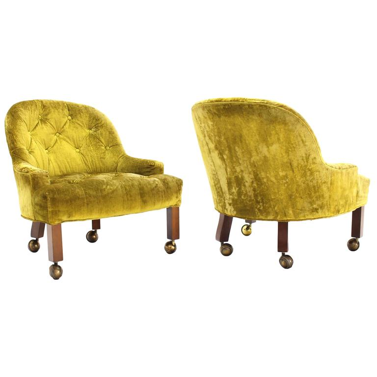 Peachy Pair Of Gold Tufted Velvet Upholstery Vintage Barrel Back Slipper Lounge Chairs Alphanode Cool Chair Designs And Ideas Alphanodeonline
