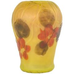 Tiffany Studios Carved Cameo Nasturtium Decorated Vase