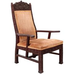 Carved Teak Armchair by Lockwood De Forest