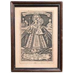Baroque Etching of Mary, Consoler of the Afflicted, Devotional Print, 1649
