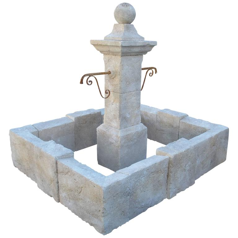 High Stone Wall Garden With Rectangular French Marble: Carved Rectangular Limestone Center Fountain From Provence