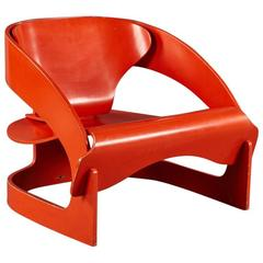 "Red Lacquered Sculptural Joe Colombo No. 4801 ""Interlocking"" Chair"