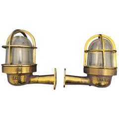 Pair of Ship's Lights or Sconces in Brass and Glass