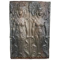 Art Nouveau Zinc Panel of Two Female Figures