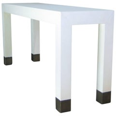 Dino Linen Modern Console with Bronze Sabots from Costantini, Customizable