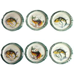 Set of Six French Ceramic Vintage Fish Hand-Painted Plates or Dishes