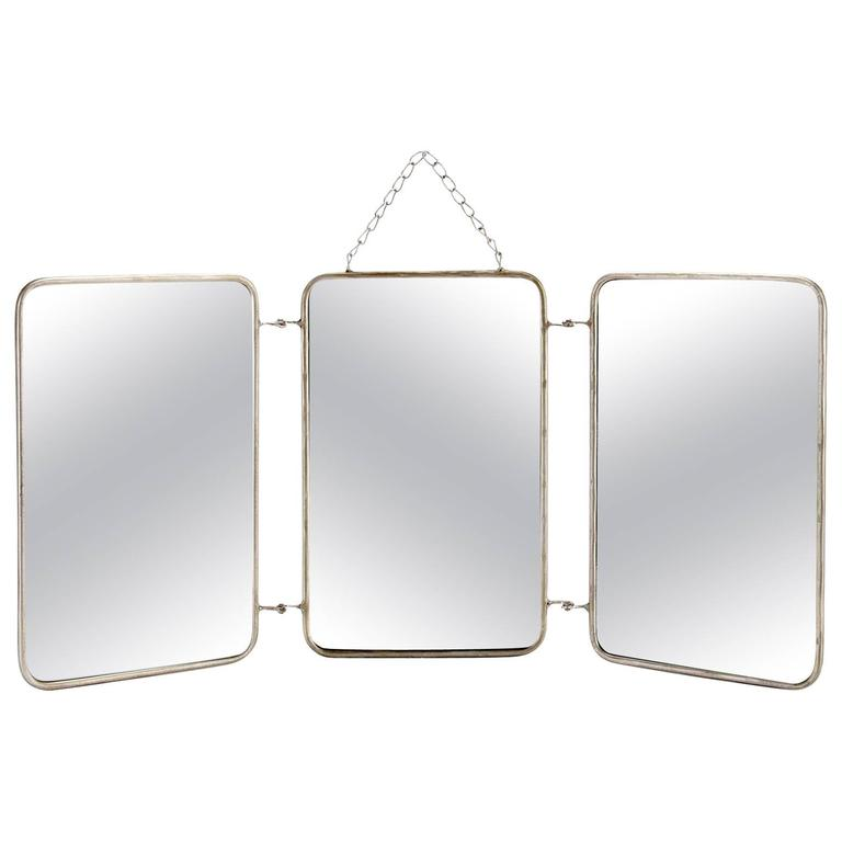 Vintage French Triptych Barber's Mirror