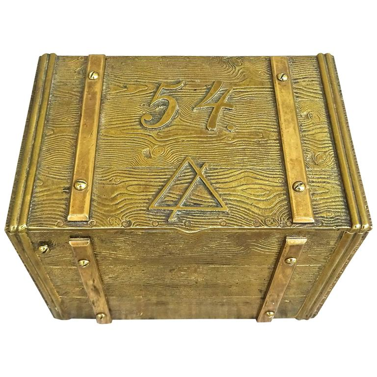 Unusual 1940s Bronze Faux Bois Box For Sale