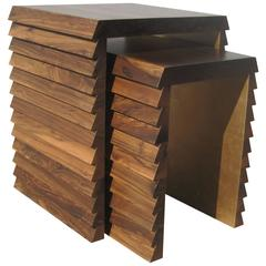 Dorena Modern Nesting Tables in Argentine Rosewood with Gold Painted Interior