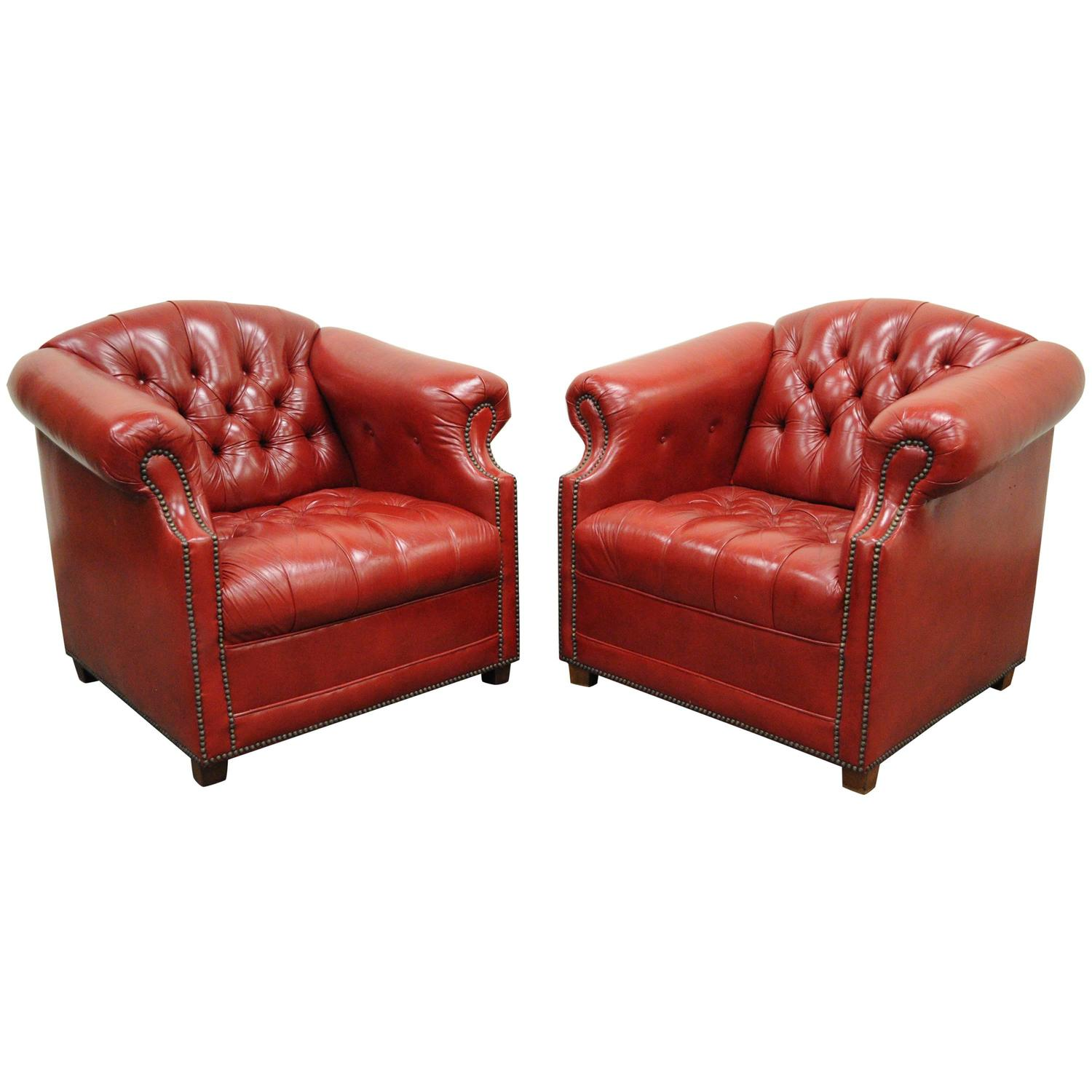 Pair of Red Leather English Chesterfield Style Button Tufted Club