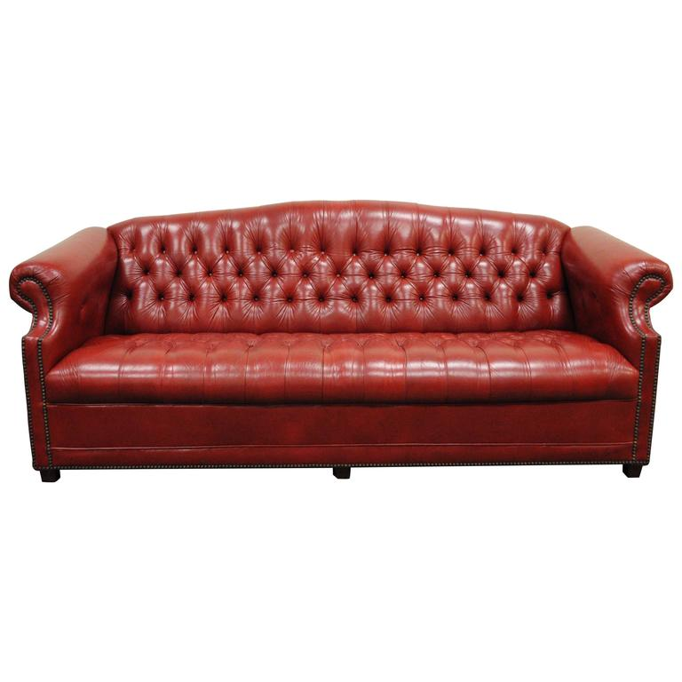 Vintage Red Leather English Chesterfield Style On Tufted Sofa By Jasper For