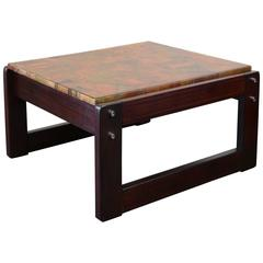 Rosewood Table with Patchwork Copper Top by Percival Lafer
