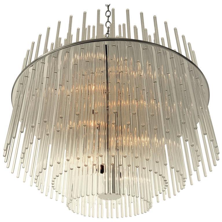 1980s new old stock large lightolier radiance glass rod chandelier audiocablefo