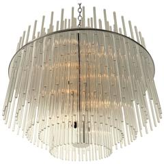 1980s New Old Stock Large Lightolier 'Radiance' Glass Rod Chandelier , USA