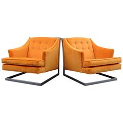 Fabulous Pair of 1970's Chrome Lounge Chairs After Milo Baughman