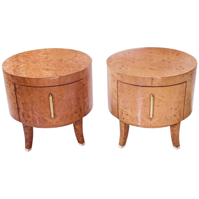 Pair Custom Swedish Biedermeier Style Round End Tables in Birch Burl and Brass
