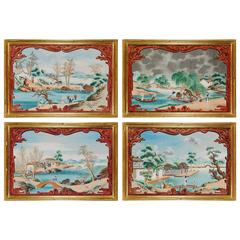Set of Four Large China Trade Gouaches of Chinese Landscapes