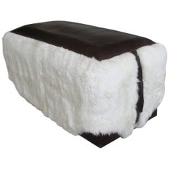 Ovino Contemporary Leather and Sheepskin Bench from Costantini, Customizable