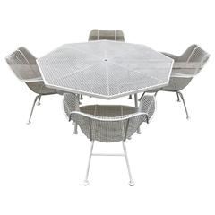 Russell Woodard Patio Set Table with Four Sculptura Chairs