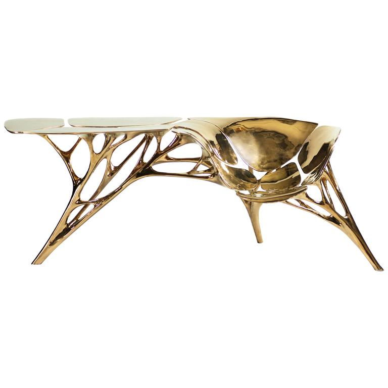 Polished Brass Lotus Console Table/Telephone Table/Entryway Table in Gold Color For Sale
