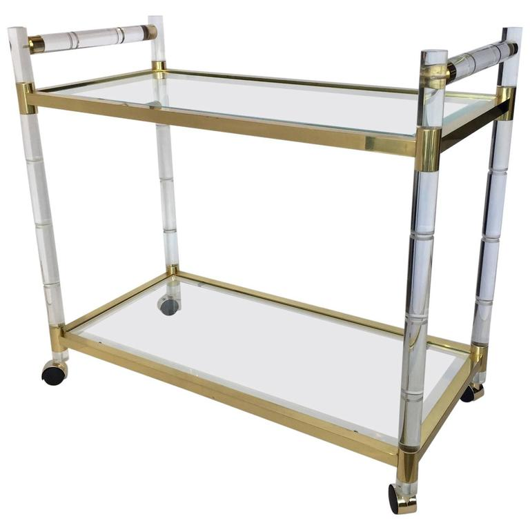 1970s Charles Hollis Jones Style Hollywood Regency Brass and Lucite Serving Cart For Sale
