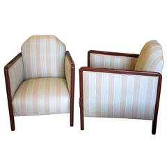 Pair of French Art Deco Upholstered Club Chairs