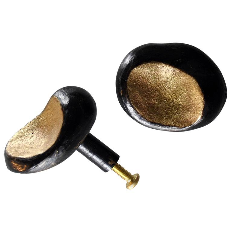 Sculpted Solid Blackened Cast Brass Ava Drawer Pull Hardware For Sale
