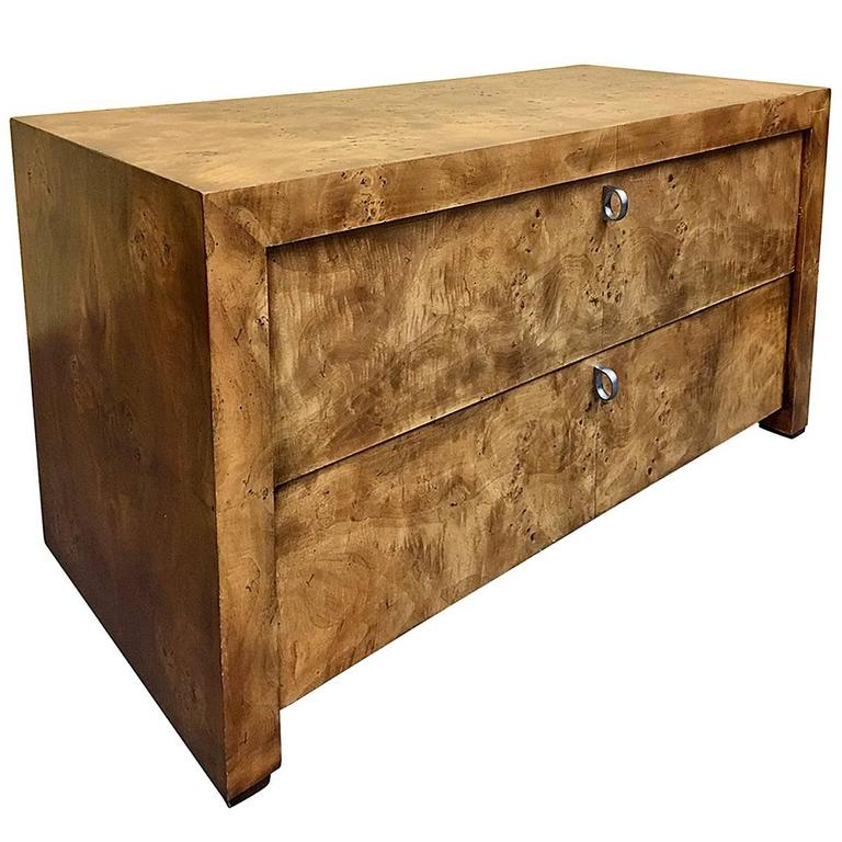Minimalist Olive Burlwood Double Drawer Nightstand/Cabinet by Hekman For Sale