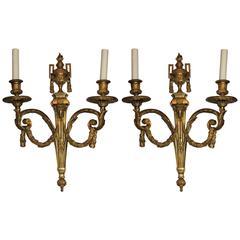 Wonderful Pair Fine Dore Bronze Ram Neoclassical Urn Tassel Regency Sconces