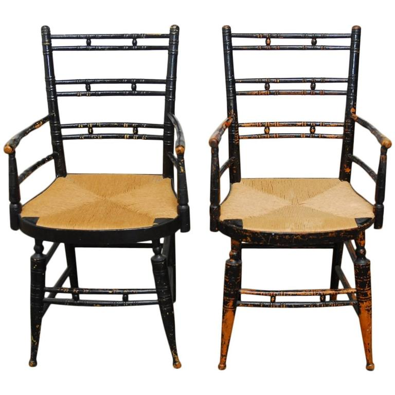 Pair of 19th Century Faux-Bamboo Hitchcock Style Armchairs For Sale