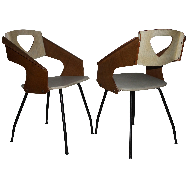 Carlo Ratti Chairs by Industria Legni Curvi, Italy 1950s