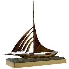 Art Deco Copper Sail Boat