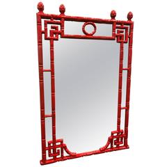 Chinese Chippendale Style Red Lacquered Faux Bamboo Mirror