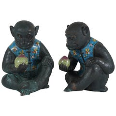 Pair of Republic Period Copper and Cloisonne Chinese Monkeys
