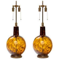 1970s Italian Tortoise Shell Glass Lamps