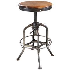 Vintage Industrial Wood and Steel Counter Island Adjustable Bar Stool