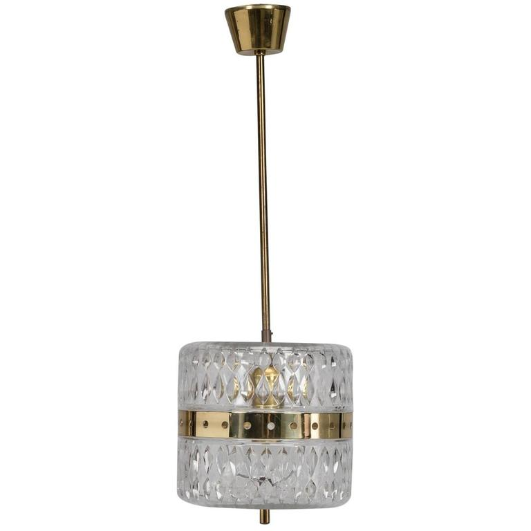 Kalmar Clear Crystal and Brass Pendant Fixture